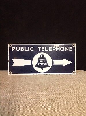 antique Bell System Public Telephone Directional Two Sided Porcelain Sign