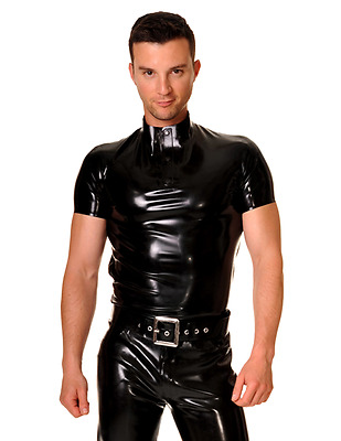 Men's Latex Rubber by Libidex, Nero Polo Shirt L Metallic Pewter