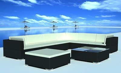New Poly Rattan Seat Group Garden Lounge Furniture Set with Cushions Black