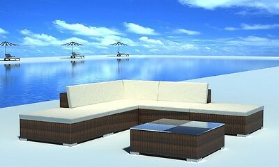 New Garden Poly Rattan Lounge Set Table 2 Stools Quality Garden Furniture Brown