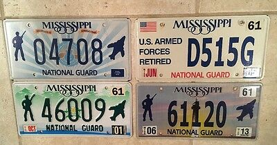 Set of 4 NATIONAL GUARD license plate Military Reserve Army Air USNG USA
