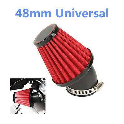"Universal Red 48mm 3"" Cold Air Intake Filter Kit For Motorcycle Car Truck Racing"