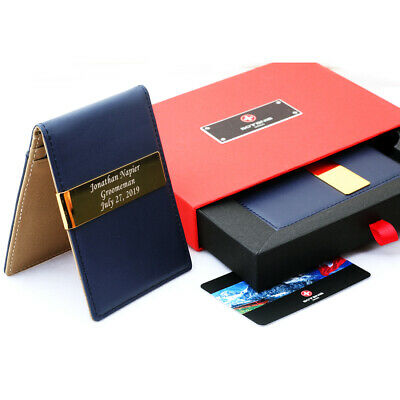 Free engraving - SOTANIA SWISS, 24K Gold Mens Leather Money Clips ID Card Holder