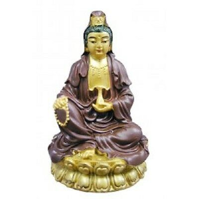 Quan Yin Goddess of Mercy & Compassion Figurine Gold and Brown 95mm