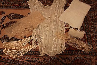 Lot Antique Lace Trim Victorian Clothing Remnants Dickey Yardage Petticoat Lace
