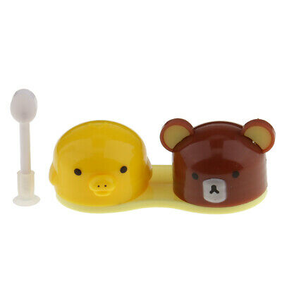 Travel Mini Cute Contact Lens Case Storage Container Holder Box Yellow Brown