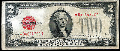 1928-G $2 Two Dollars *star* Red Seal Legal Tender United States Note