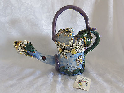 Blue Sky Clayworks Heather Goldminc - White Daisy Watering Can - w/ tag