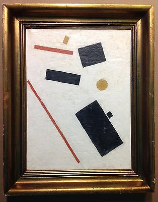 Russian Vintage Oil Painting on Canvas Abstract 1920'S Signed