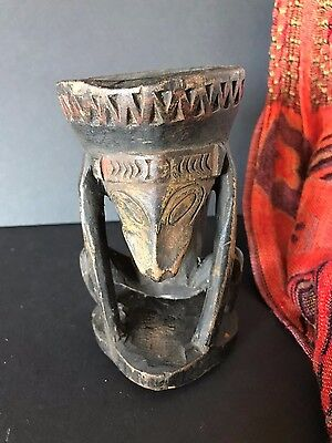 Old Papua New Guinea Carved Wooden Sepik River Paint Pot (c) …one of a unique...