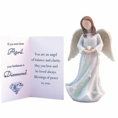 Birthstone Angel - April Balance & Clarity, White with White