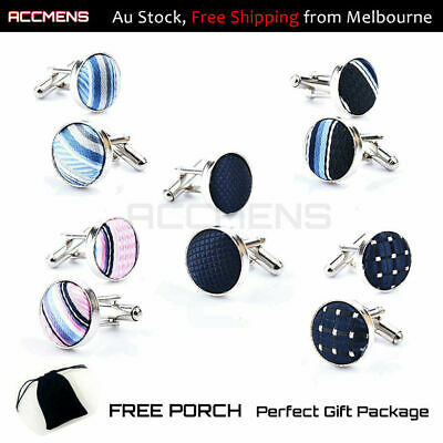 Mens Cufflinks Round Cloth Wedding Business Novelty Vintage Fathers Day Gift