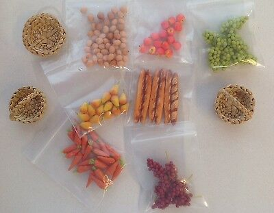 Dolls House Miniature Fruit Vegetable Bread Eggs Lot