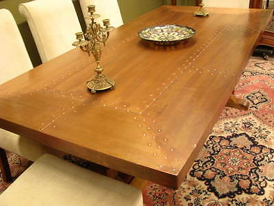 LARGE COPPER TOP INDUSTRIAL RUSTIC DINING TABLE  200cm X 95cm ~ SEATS UP TO 10