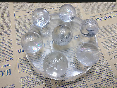 30mm Seven Star Array Natural STAR rainbow Quartz Crystal Ball with Plate