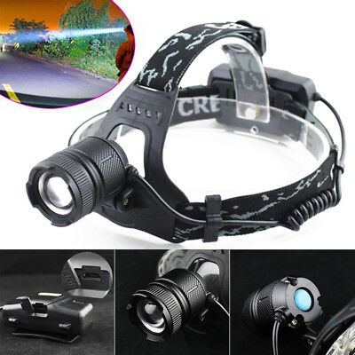 12000LM T6 LED Zoom Stirnlampe Kopflampe Headlamp Outdoor Headlight + USB Kable