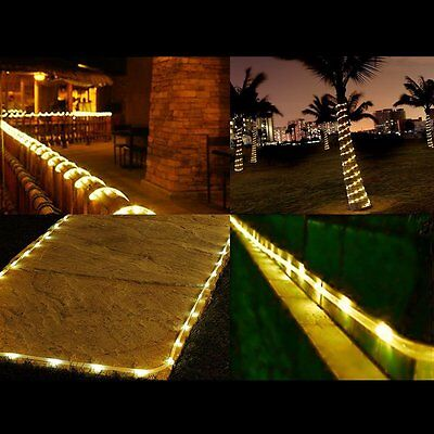 100 LED Solar PVC Rope Lights 12M Waterproof Outdoor Path Xmas Warm White String