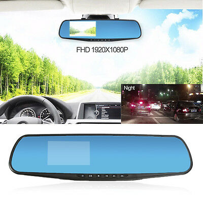 "HD 1080P 3"" Dual Universal Auto Rear View Mirror Safety Dash Cam Recorder Hot!"