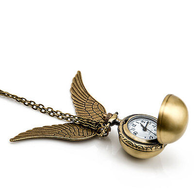 Harry Potter Snitch Pocket Watch Pendant Necklace Steampunk Wing Clock
