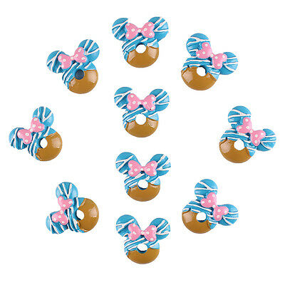 Lot 10pcs Blue Minnie Flatback Resin Scrapbooking Hair Bow DIY Frame Craft