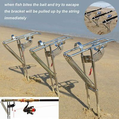 Automatic Stainless Steel Tip-Up Hook Fishing Rod Holder Setter Stand Bracket