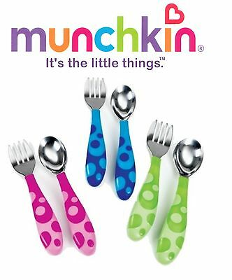 Baby Fork and Spoon Cutlery Set Toddler Food Feeding Munchkin 12m+ Uk