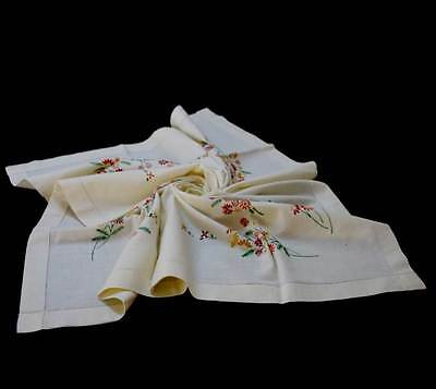 Vintage pretty cream & autumn flowers embroidered square tablecloth 100cm