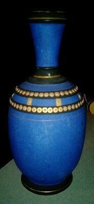 Antique german Austrian blue black beaded vase c1900