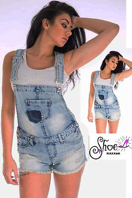 Ladies Women's Denim Dungaree New Playsuit Jumpsuit Dungarees Shorts Dress Jeans