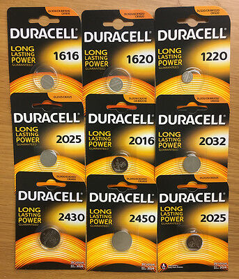 Duracell cr2032/1220/2450/1616/2016 3V Lithium Coin Cell Batteries ALL SIZES