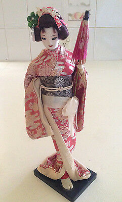 VINTAGE Antique Japanese Traditional Geisha Doll 31 cm Wooden Stand Stamped
