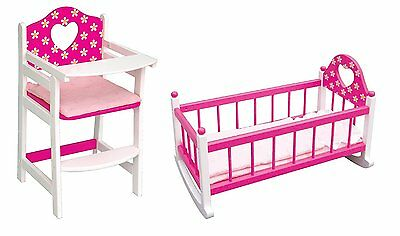 Kids Childrens Wooden High Chair & Cradle Cot For Baby Dolls Age 3+