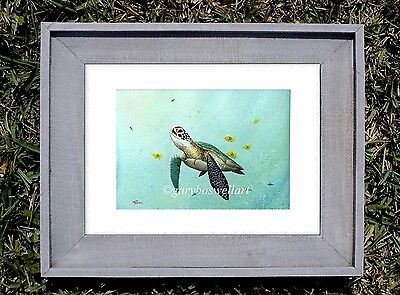 Sea Turtle S/N Limited edition print from watercolor Framed art tortoise marine