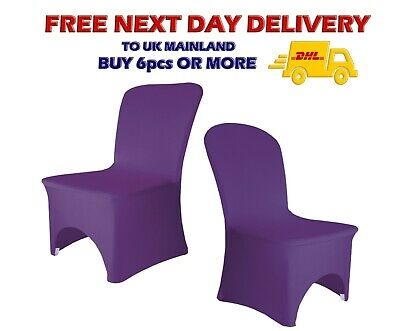 PURPLE CHAIR COVERS Spandex Top Quality Wedding Decor Lycra Arched Front Party