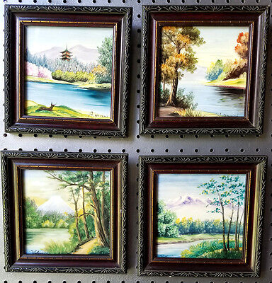 Lot of 4 Hand Painted Framed Tiles~Occupied Japan~Signed Kobayashi & Yasumi