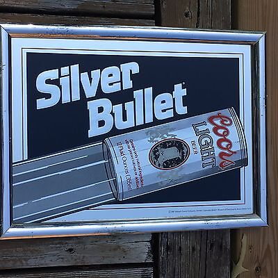 Colors Light Silver Mirror Sign Framed Man Cave Bar Room Beer Advertising 80's