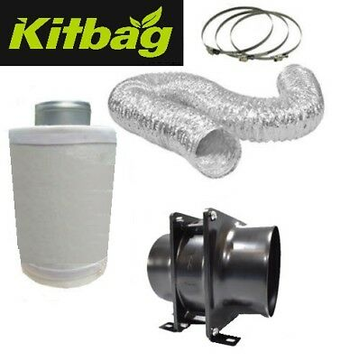 "4"" In Line Fan Carbon Filter Ducting Kit Hydroponic Grow Room Tent Ventilation"