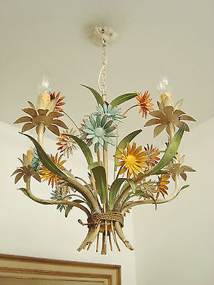 Ultimate Shabby French Chic Tole Toleware Daisies Chandelier Light Lamp