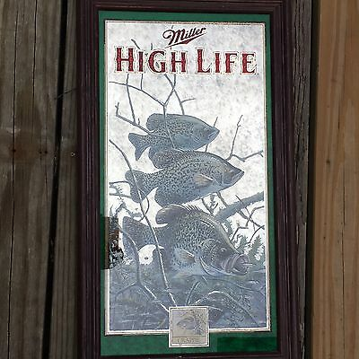 Miller High Life Wildlife Crappie Fishing Frame Mirror Beer Bar Room Sign Decor