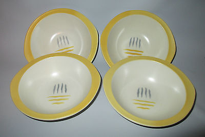 Steubenville Dimension 4 Cereal Bowls Yellow Casual Line Mid Century Modern USA