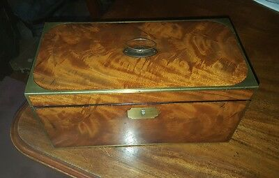 A Georgian Brass Inlaid Mahogany Tea Caddy.