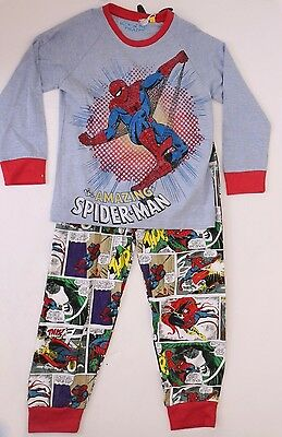 Marvel Comics The Amazing Spider-Man Baby Boys Blue Pajama Set Size 3//4 5//6 NWT