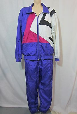Vintage 80's 90s Tracksuit Bocoo Purple M Windbreaker Track Jacket Pants Set