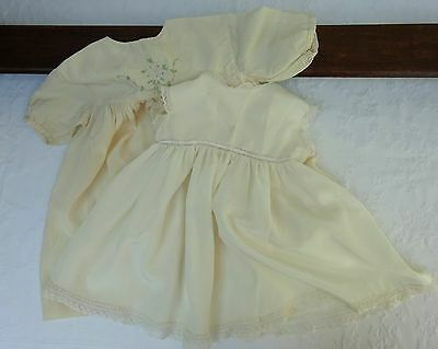 Early 1900's Baby Silk Embroidered Lace Dress & Petticoat Doll Edwardian Vintage