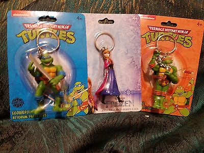 Keychains LOT of 3 two Teenage Mutant Ninja Turtles and 1 Anna from Frozen