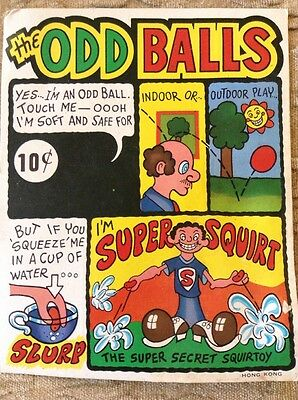 """Vintage Vending Display """"the Odd Balls"""" Ball Super Squirt Toy"""