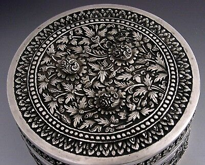 BEAUTIFUL LARGE SOUTH EAST ASIAN HIGH GRADE SILVER BOX c1900 HEAVY 199g