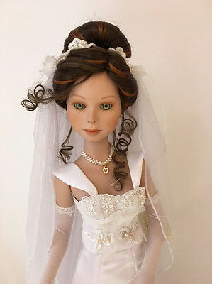 "New In Box Show Stoppers 29"" CHARMING BRIDE Porcelain Doll Brown Hair Limited"