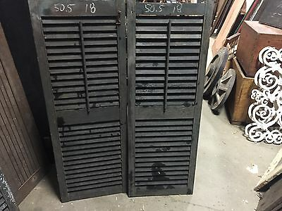 """PaiR 19th century louvered VICTORIAN house SHUTTERS Old green paint 50.5"""" X 18"""""""