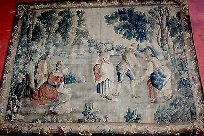 Antique TAPESTRY Aubusson VERDURE 18th century  7,2 feet wide by 5,9 feet high